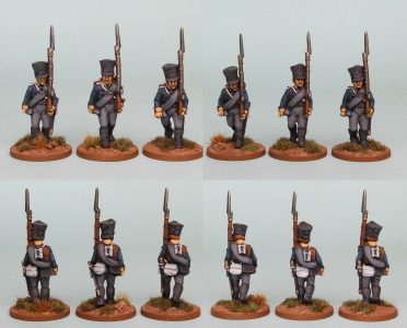 28mm Napoleonic Prussian pack PSNRPK4 painted as Fusiliers of the 10th Infantry Regiment (1st Silesian) Painted by Richard Abbott.
