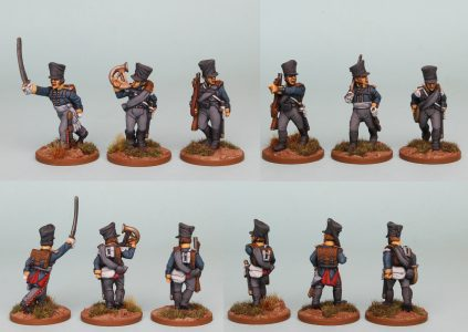 28mm Napoleonic Prussian pack PSNRPK7 painted as Fusilier Command of the 10th Infantry Regiment (1st Silesian) Painted by Richard Abbott.