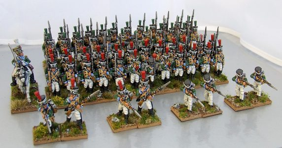 28mm Napoleonic Wurttemburg Light Infantry. Painted by Michael Heynen.
