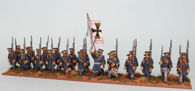 28mm Napoleonic Prussian Landwehr painted as a Battalion of the 1st Silesian Regiment (front view) by Richard Abbott