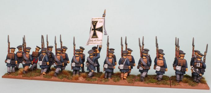 28mm Napoleonic Prussian Landwehr  painted as a Battalion of the 1st Silesian Regiment (rear view) by Richard Abbott