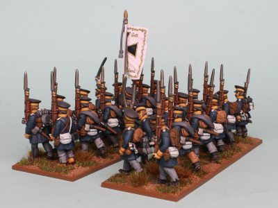 28mm Napoleonic Prussian Landwehr painted as a Battalion of the 1st Silesian Regiment (side view) by Richard Abbott