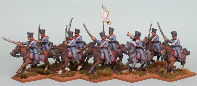 28mm Napoleonic Prussian Dragoons, painted as 1st (Queen's) Regiment painted by Richard Abbott