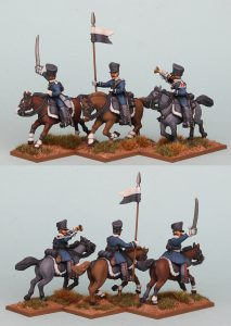 28mm Napoleonic Prussian Landwehr Cavalry Command, PSNRPK27 pack painted as Pomeranian Landwehr Cavalry, painted by Richard Abbott