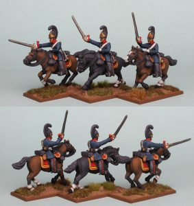 28mm Napoleonic Prussian Cuirassiers PSNRPK28 pack painted as the 4th Brandenburg Cuirassier Regiment, painted by Richard Abbott.