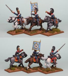 28mm Napoleonic Prussian Cuirassiers PSNRPK30 Command pack painted as the 4th Brandenburg Cuirassier Regiment, painted by Richard Abbott.