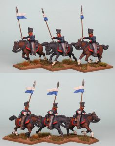 28mm Napoleonic Prussian Uhlans PSNRPK32 pack painted as the 1st West Prussian Uhlan Regiment, painted by Richard Abbott.