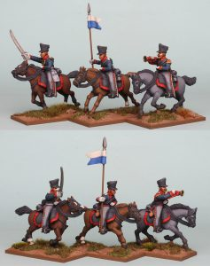 28mm Napoleonic Prussian Uhlans Command PSNRPK33 pack painted as the 1st West Prussian Uhlan Regiment, painted by Richard Abbott.