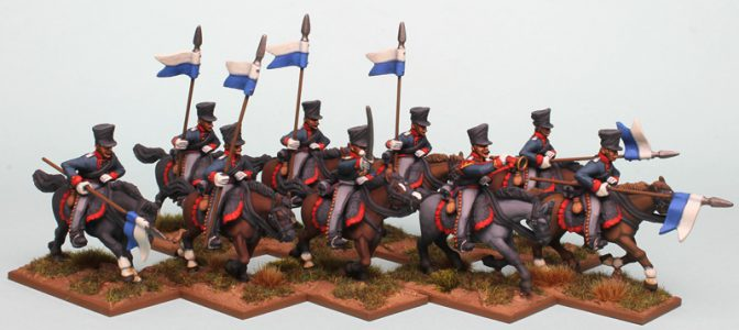 28mm Napoleonic Prussian Uhlans painted as the 1st West Prussian Uhlan Regiment, painted by Richard Abbott.