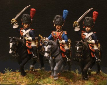 28mm Napoleonic French Grenadiers A Cheval, painted by Frederic Barbancon