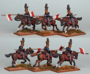 28mm Napoleonic Prussian Guard Uhlans, pack PSNRPK34 painted by Richard Abbott.
