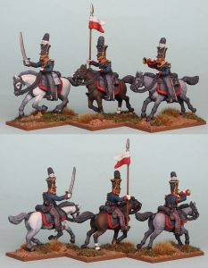 28mm Napoleonic Prussian Guard Uhlans Command, pack PSNRPK36 painted by Richard Abbott.