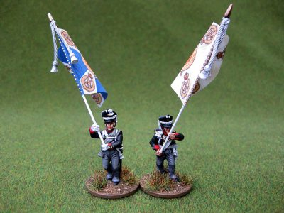 28mm Napoleonic Russian Infantry Standard Bearers. Painted by Colin from Charlie Foxtrot Models