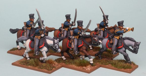 28mm Napoleonic Prussian Hussars painted as the 5th Pommeranian Hussars by Richard Abbott.