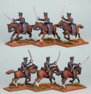 28mm Napoleonic Prussian Hussars, pack PSNRPK37 painted as the 5th Pommeranian Hussars by Richard Abbott.