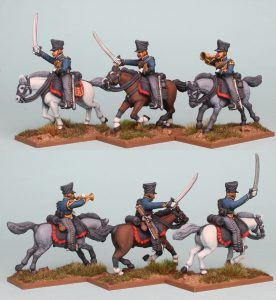 28mm Napoleonic Prussian Hussars, pack PSNRPK38 painted as the 5th Pommeranian Hussars by Richard Abbott.