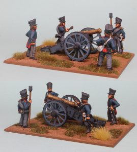 28mm Napoleonic Prussian Foot Artillery, 6 pound gun & crew figures (PSNRPK39 & EQ106) painted by Richard Abbott