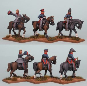 28mm Napoleonic Prussian Mounted Generals & Staff. General in Uberrock (left), General in Leibrock (centre) & Staff Officer (right). Pack PSNRPK45. Painted by Richard Abbott.