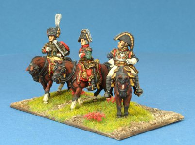 Code EXDFN6 ~ 28mm Napoleonic French. ADC, Bessiers, Cuirassier General. 3 mounted figures, painted by Ian Stables. UNIT BID PRICE £45.00+
