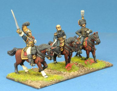 Code EXDFN5 ~ 28mm Napoleonic French. Carabinier General, Davout, ADC. 3 mounted figures, painted by Ian Stables. UNIT BID PRICE £45+