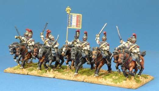 Code EXDFN3 ~ 28mm Napoleonic French Carabiniers, 9 mounted figures.  UNIT BID PRICE £90+