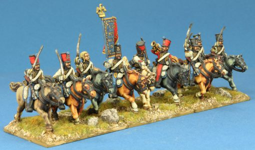 Code EXDFN2 ~ 28mm Napoleonic French Hussars, 9 mounted figures, painted by Kevin Dallimore. UNIT BID PRICE £135.00+