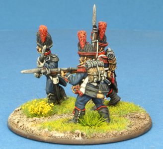 Code EXDFN9 ~ 28mm Napoleonic French. 3 x Light Infantry Carabinier figures, painted by Ian Stables. UNIT BID PRICE £15.00+