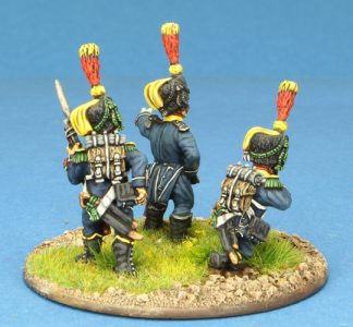 Code EXDFN10 ~ 28mm Napoleonic French. 3 x Light Infantry Voltigeurs figures, painted by Ian Stables. UNIT BID PRICE £15.00+