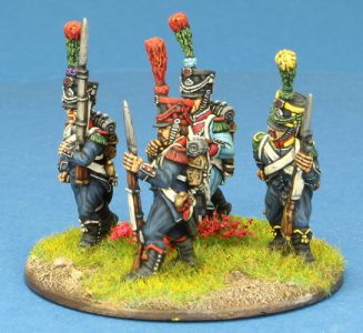 Code EXDFN8 ~ 28mm Napoleonic French. 4 x Light Infantry group, POST 1806, painted by Ian Stables. UNIT BID PRICE £20.00+