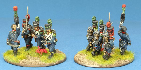 28mm Napoleonic French. 4 x Light Infantry group, PRE 1806, painted by Ian Stables.