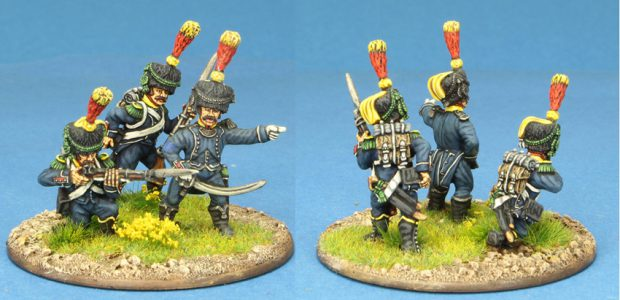 28mm Napoleonic French. 3 x Light Infantry Voltigeur figures, painted by Ian Stables.