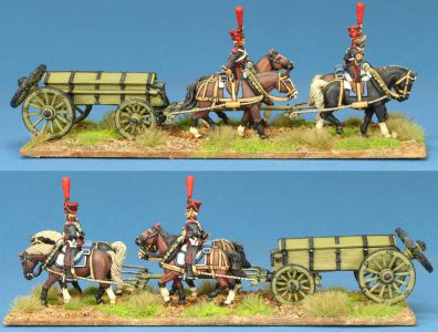 28mm Napoleonic French. Guard Artillery Caisson Set, painted by Steve Dyer.
