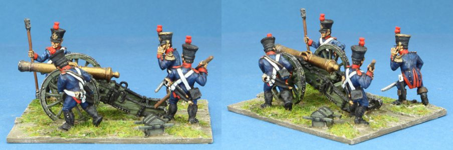 28mm Napoleonic French. 4 x Gun Crew figures and 1 gun.