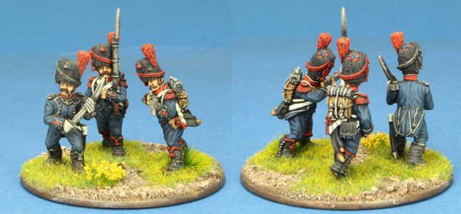 28mm Napoleonic French. 3 x Light Infantry Carabinier figures, painted by Ian Stables.