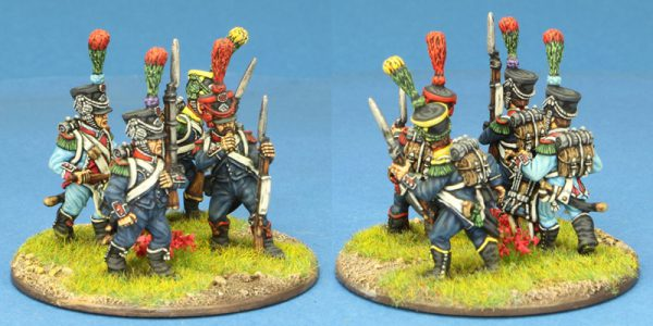 28mm Napoleonic French. 4 x Light Infantry group, POST 1806, painted by Ian Stables.