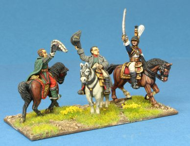Code EXDFN4 ~ 28mm Napoleonic French. Grouchy, Napoleon and Cuirassier General. 3 mounted figures, painted by Ian Stables. UNIT BID PRICE £45.00+
