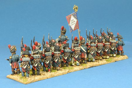Code EXDFN1 ~ 28mm Napoleonic French Old Guard, 24 figures including 1 mounted figure, painted by Kevin Dallimore. UNIT BID PRICE £240.00+