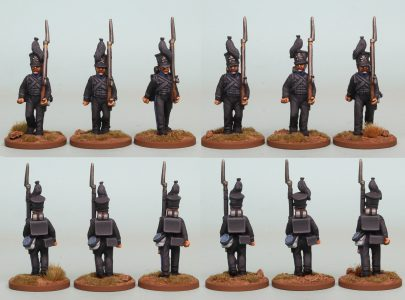 28mm Brunswick Reinforcement pack BWRPK1 Oels Jagers/Leib Battalion marching (front and rear view) Painted by Richard Abbott