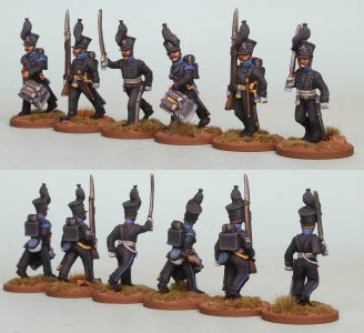 28mm Brunswick Reinforcement pack BWRPK2 Oels Jagers/Leib Battalion Command advancing (front and rear view) Painted by Richard Abbott