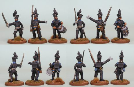 28mm Brunswick Reinforcement pack BWRPK4 Oels Jagers/Leib Battalion Command standing (front and rear view) Painted by Richard Abbott