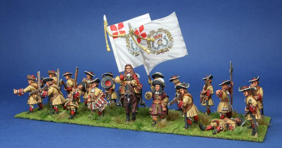 28mm Late 17th Century. Danish Foot Guards, painted by Phil Robinson, flags by Warfare Miniatures