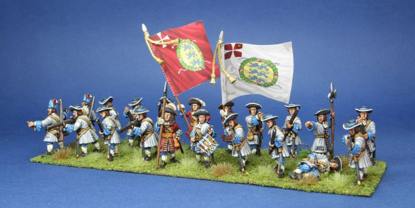 28mm Late 17th Century. Danish Regiment Zealand, painted by Artmaster Studios, flags by Warfare Miniatures