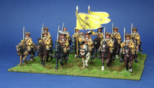 28mm Late 17th Century. Claires Dragoons, painted by Phil Robinson, flags by Warfare Miniatures