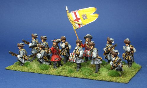28mm Late 17th Century. Conynghams Dragoons, painted by Artmaster Studios, flags by Warfare Miniatures