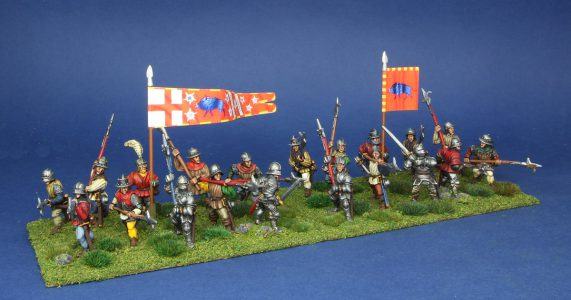 28mm Wars of the Roses. Earl of Oxfords Infantry, painted by Artmaster Studios, flags by Battleflag