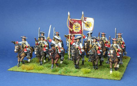 28mm Late 17th Century Danish. Donops Horse, pained by Artmaster Studios, flags by Warfare Miniatures