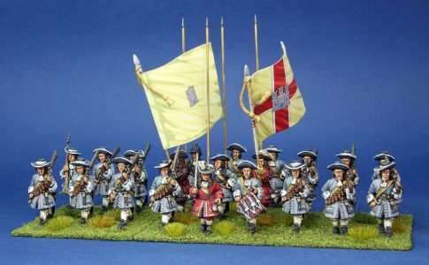 28mm Late 17th Century. Hamiltons Regiment, painted by Artmaster Studios, flags by Warfare Miniatures