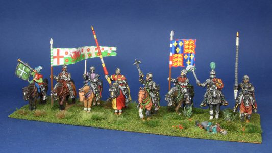 28mm Wars of the Roses. Henry VII mounted group. flags by Battleflag