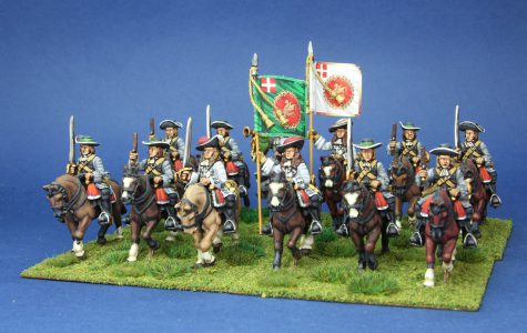 28mm Late 17th Century Danish, Juels Horse, painted by Artmaster Studios, flags by Warfare Miniatures