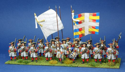 28mm Late 17th Century. French Regiment La Marche, painted by Artmaster Studios, flags by Warfare Miniatures